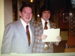 This is a grainy photo of Peter M. Tintle, Manager, NBC Guest Relations   and   Peter M. Hamilton, Asst. Mgr.     Probably 1974 or early 1975. Look at that suit… '70s, ya think?