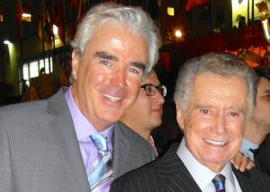 SPECIAL GUEST REGIS PHILBIN – Special guest Regis Philbin was a highlight of the 80th anniversary NBC Page reunion in Rockefeller Plaza. Joining him was John Moran (left) stage manager/technical support for the Late Show With David Letterman. Regis was a celebrity guest at the 50th anniversary in December of 1983, an event the author covered in one of his last assignments for NBC. (Photo credit, Ed Berenhaus, former NBC Page/ currently Advertising and Promotion Consultant.)